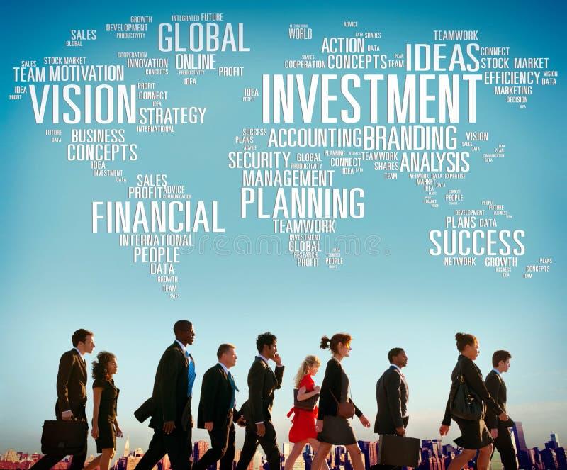 Vision d'investissement prévoyant le concept global de succès financier photographie stock libre de droits