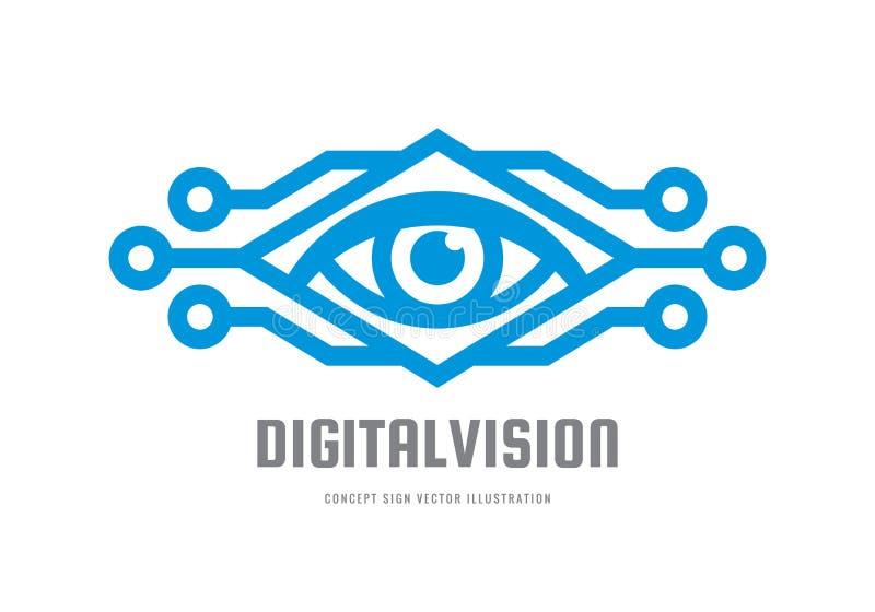 Vision de Digital - dirigez l'illustration de concept de calibre de logo Signe créatif abstrait d'oeil humain Technique de protec illustration de vecteur