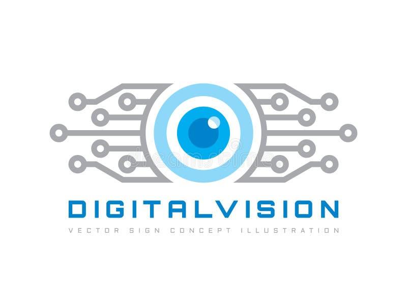 Vision de Digital - dirigez l'illustration de concept de calibre de logo Signe créatif abstrait d'oeil humain Technique de protec illustration libre de droits