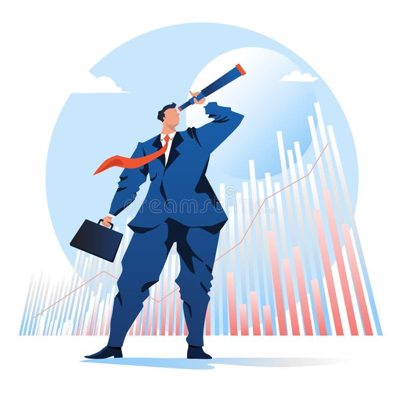 Vision del negocio hombre de negocios que mira el telescopio con un fondo de la acción del gráfico Ilustraci?n del vector persona ilustración del vector