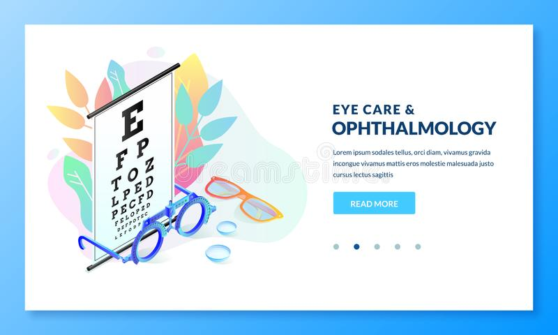 Vision diagnostics test. Ophthalmology exam and eye care vector isometric illustration. Landing page banner design vector illustration