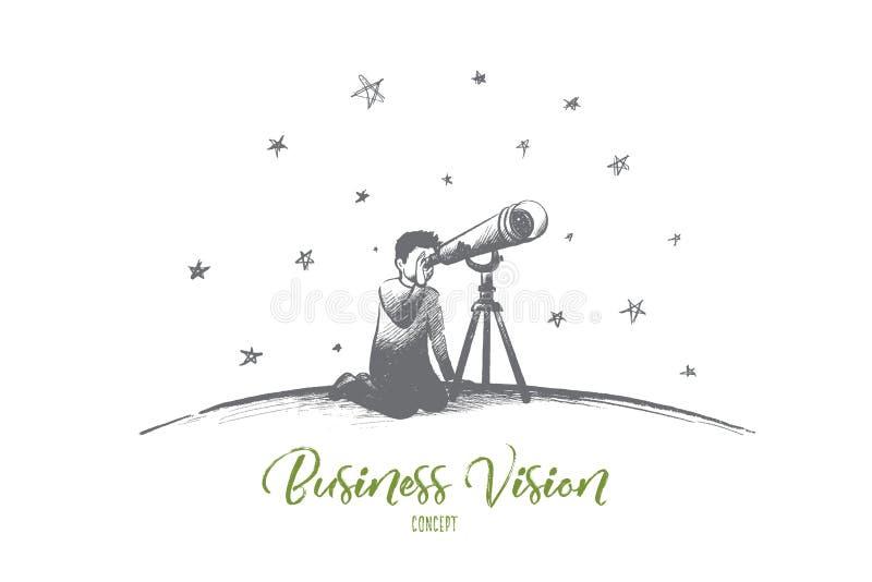vision för exponeringsglas för affärsidédiagramfokusering förstorande Hand dragen isolerad vektor stock illustrationer