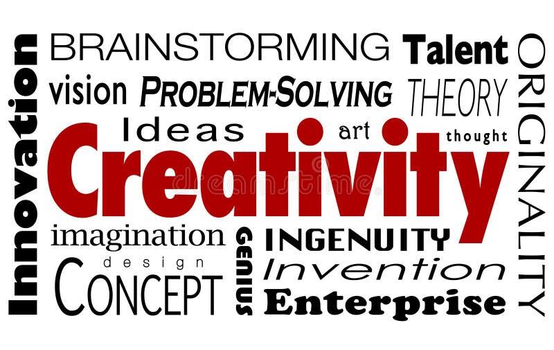 Vision för fantasi för idéer för innovation för kreativitetordcollage vektor illustrationer