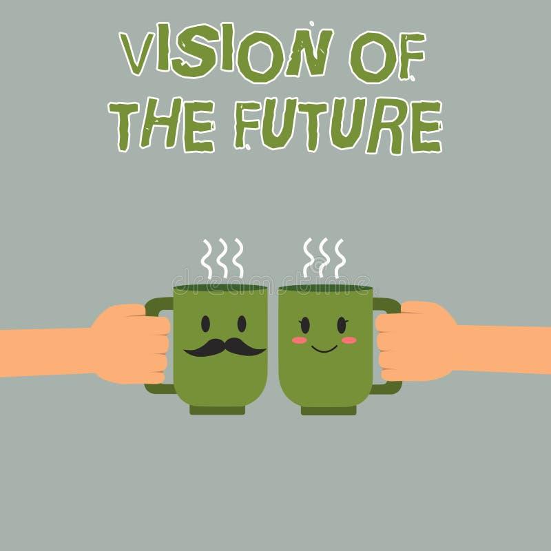 Vision för handskrifttexthandstil av framtiden Begreppsbetydelse som ser något framåt en klar handbok av handling stock illustrationer