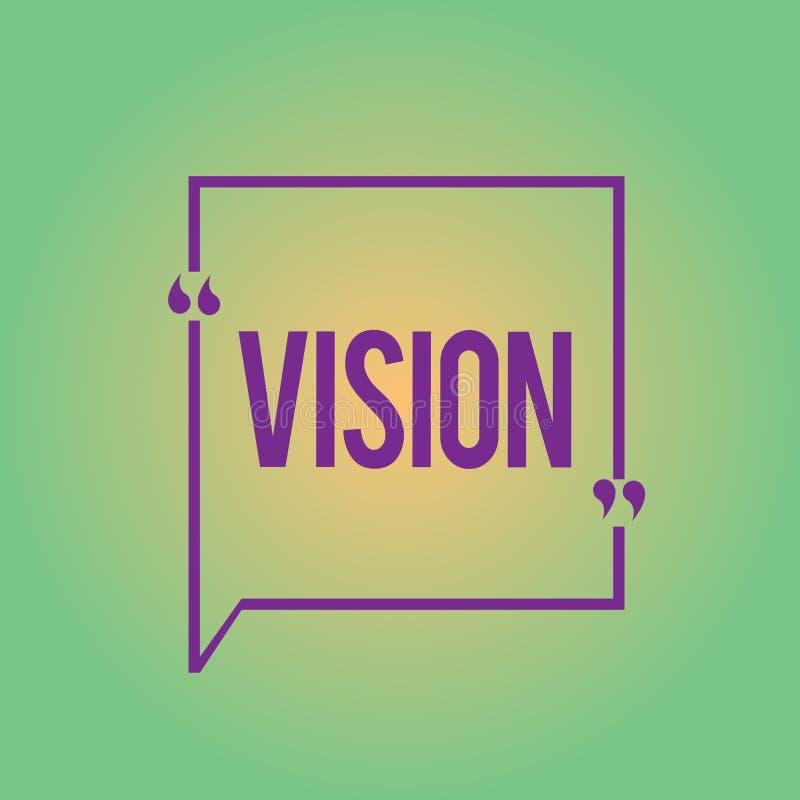 Vision för ordhandstiltext Affärsidé för att vara i stånd till att se den sakliga inspirationplanläggningen för framtid vektor illustrationer