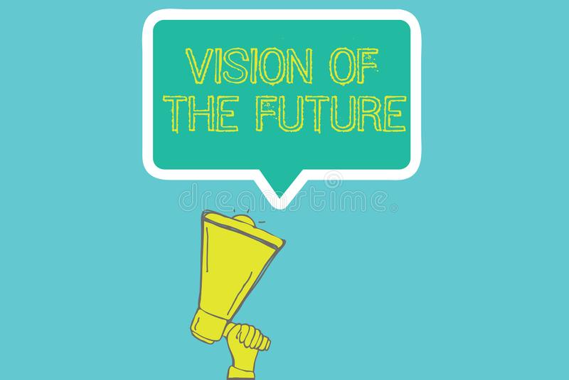 Vision för ordhandstiltext av framtiden Affärsidé för att se något framåt en klar handbok av handling stock illustrationer