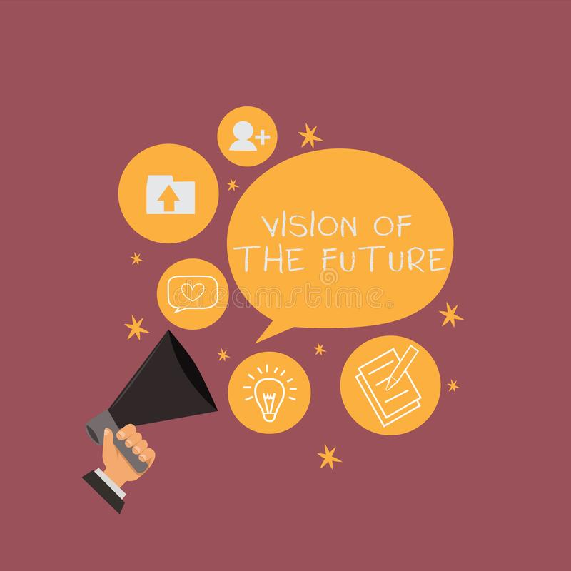 Vision för textteckenvisning av framtiden Begreppsmässigt foto som ser något framåt en klar handbok av handling vektor illustrationer