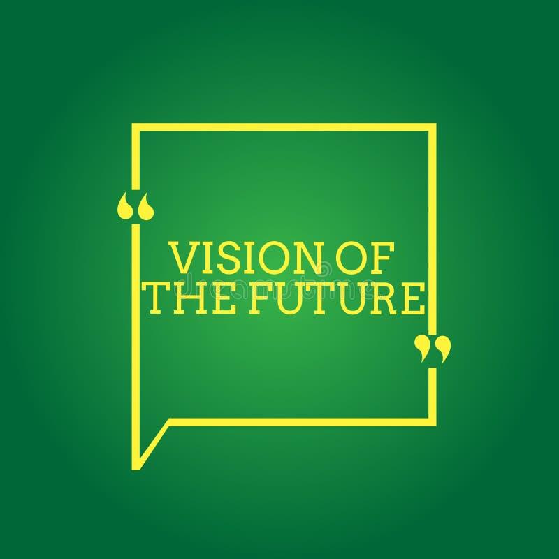 Vision för textteckenvisning av framtiden Begreppsmässigt foto som ser något framåt en klar handbok av handling stock illustrationer