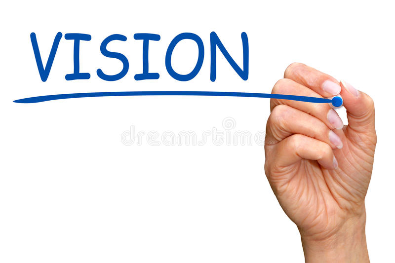Vision - female hand writing blue text royalty free stock photos