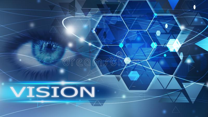 Vision future background abstract blue concept solution eye vector illustration