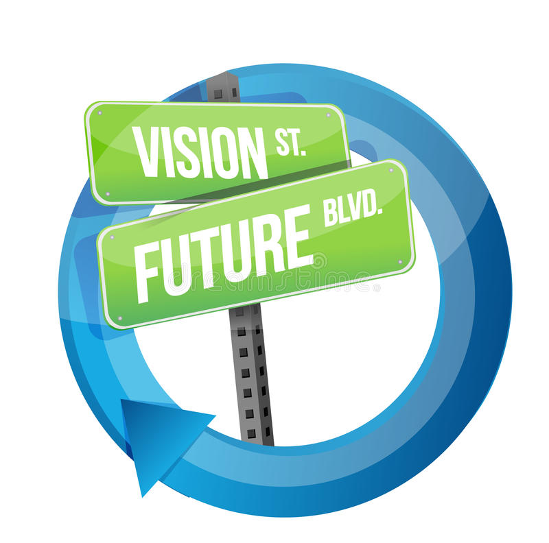Vision and future road sign cycle. Illustration design over white royalty free illustration