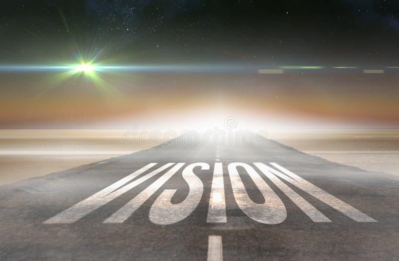 Vision gegen die Straße, die heraus zu den Horizont führt lizenzfreie abbildung