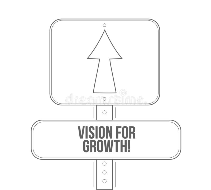 Vision for growth line street sign stock illustration