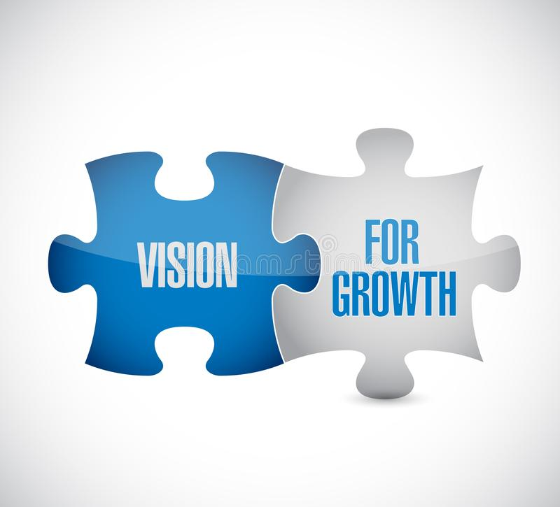 Vision for growth puzzle pieces message concept stock illustration