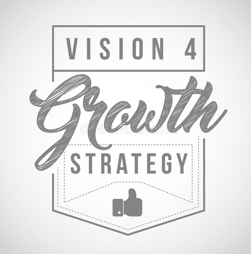 Vision for growth strategy seal in line graphics royalty free illustration