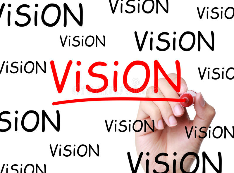 Vision. Hand writing Vision concept with red marker on transparent wipe board royalty free stock image