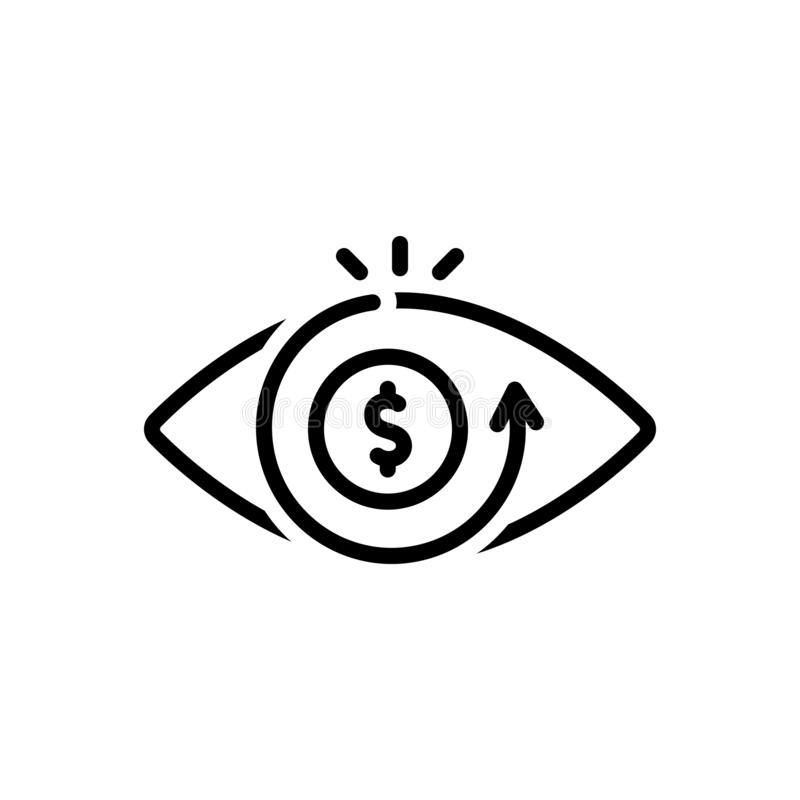 Black line icon for Vision, eyesight and perception. Black line icon for Vision, view, eye, optics, sight, seeing,  eyesight and perception stock illustration