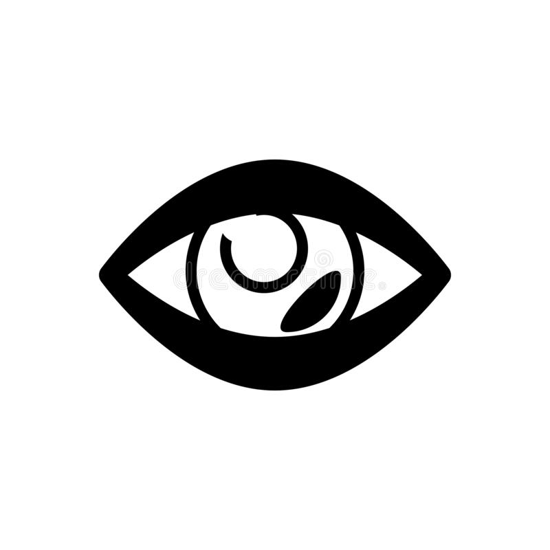Black solid icon for Vision, eyeball and watch. Black solid icon for Vision, see, view, look, sight, eyesight,  eyeball and watch vector illustration