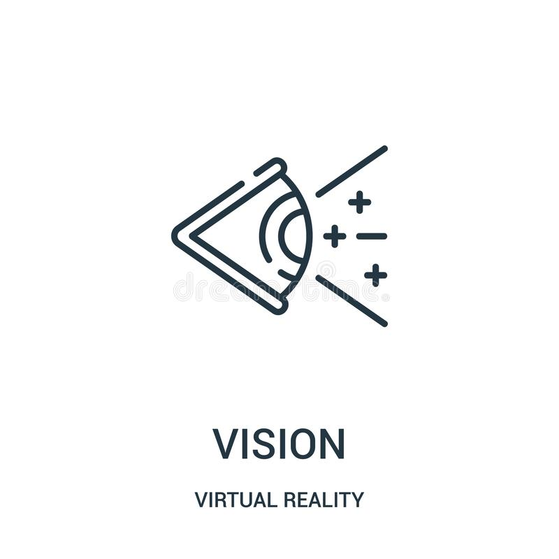 Vision icon vector from virtual reality collection. Thin line vision outline icon vector illustration. Linear symbol for use on web and mobile apps, logo stock illustration
