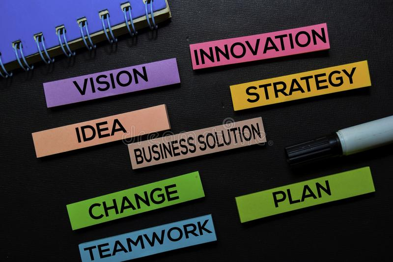 Vision, Innovation, Idea, Business Solution, Strategy, Change, Teamwork, Plan text on sticky notes isolated on Black desk. royalty free stock photos