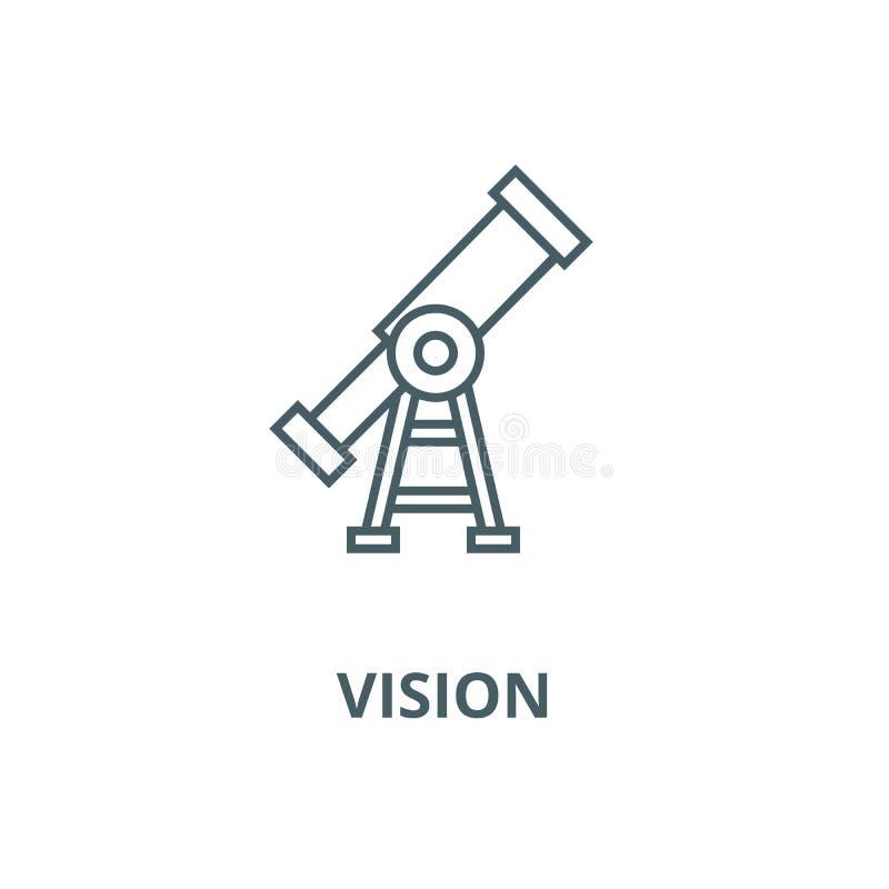 Vision, línea icono, concepto linear, muestra del esquema, símbolo del vector del telescopio stock de ilustración
