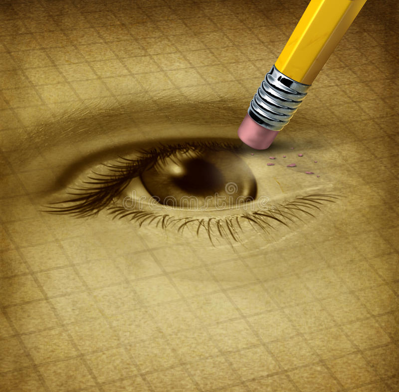 Vision Loss. Ad losing eyesight medical health care concept with a human sight organ being erased by a pencil as a symbol of blindness and ocular disease royalty free illustration