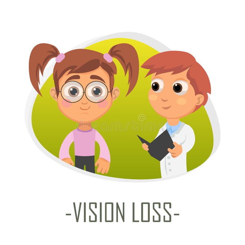 Vision loss medical concept. Vector illustration. Doctor and patient are talking in the hospital. Isolated on white background vector illustration