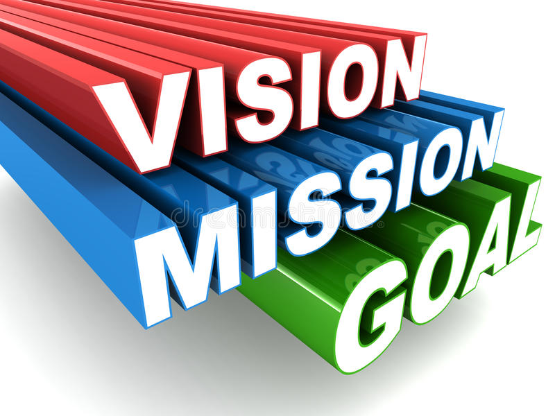 Vision mission. Vision and mission concept, words vision mission goal zooming into view royalty free illustration