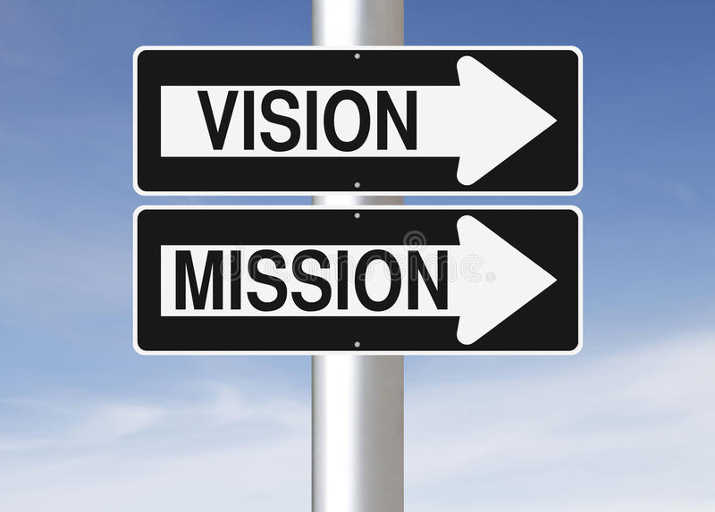 Vision and Mission. Conceptual one way street signs on a pole indicating Vision and Mission royalty free stock image
