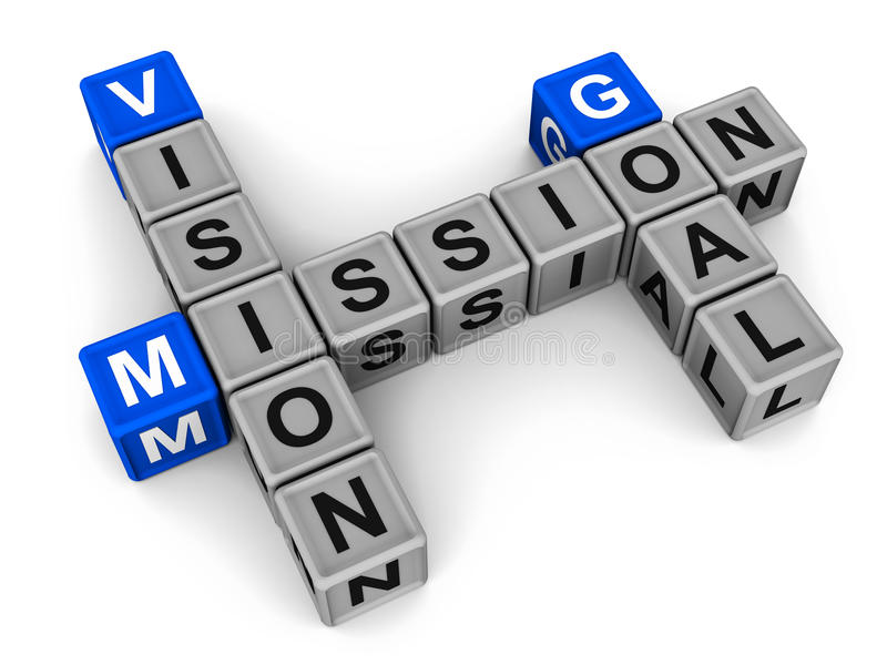 Vision mission goal. A crossword with vision mission goal words in arrangement, on white background stock illustration