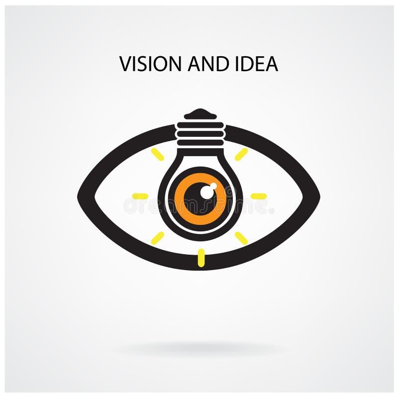 Vision och idérikt idébegrepp för ljus kula, ögonsymbol royaltyfri illustrationer