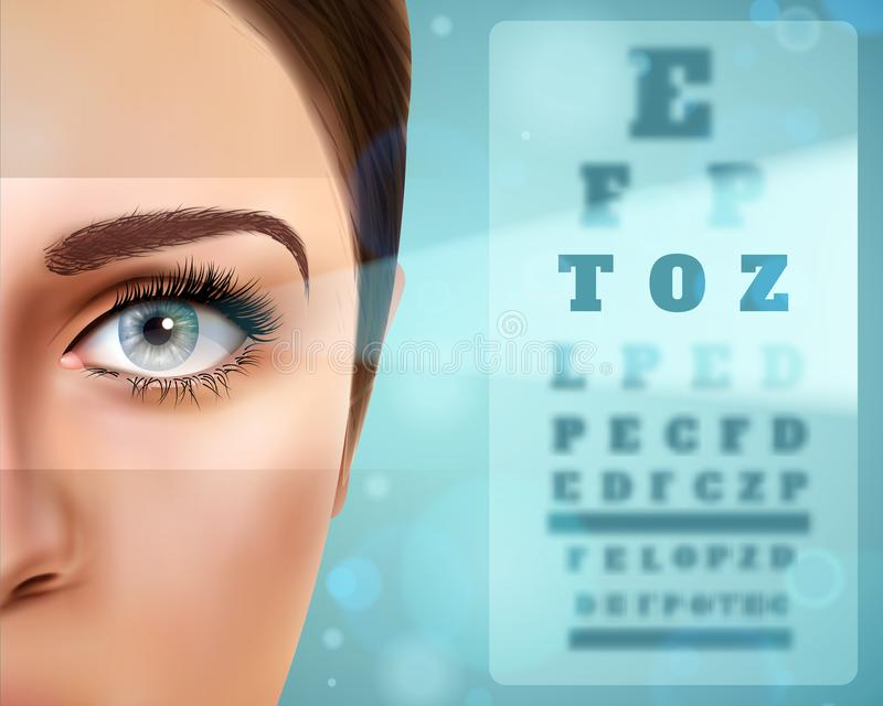 Vision Realistic Poster. With female face, board with letter symbols for eye check vector illustration royalty free illustration