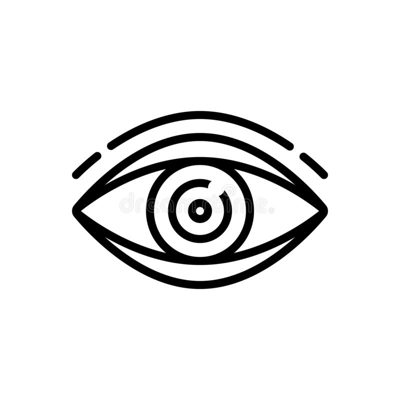 Black line icon for vision see, and look. Black line icon for Vision, sight, watch, eyesight, dristi, peep,  see and look stock illustration