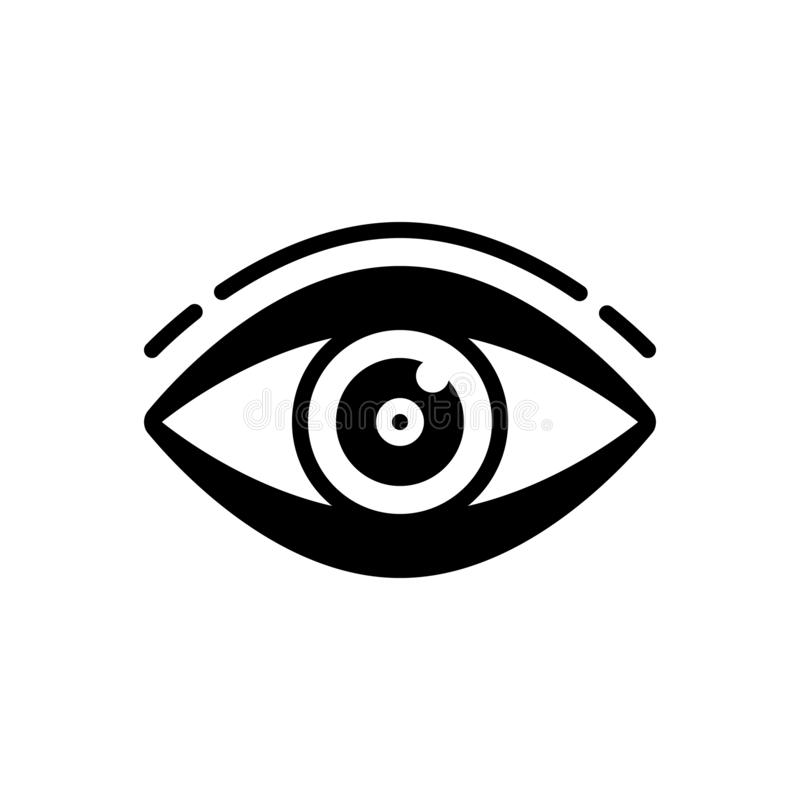 Black solid icon for vision see, look and sight. Black solid icon for vision see, view, watch, eyesight, dristi,  look and sight vector illustration