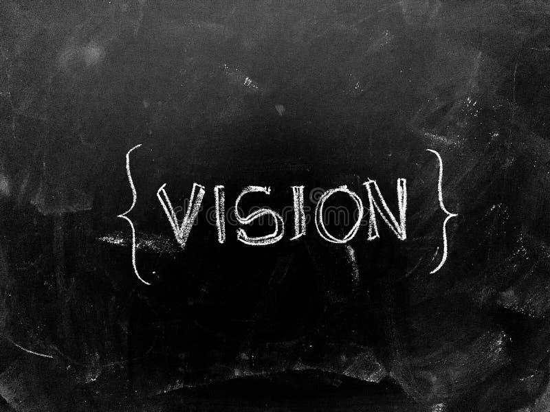 Vision som är handskriven på svart tavla arkivfoto