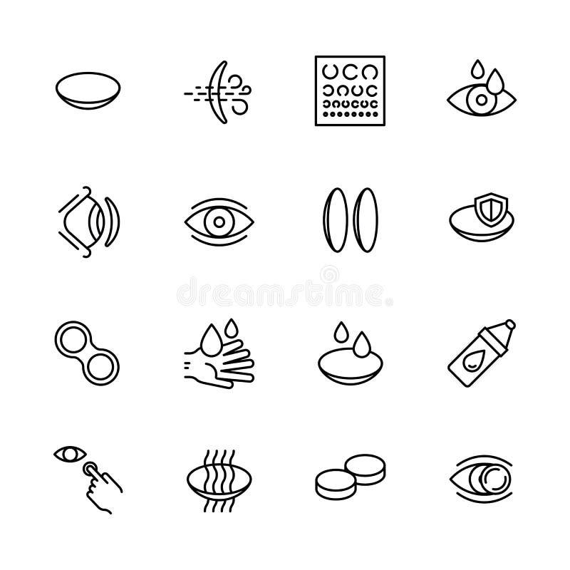 Vision, synförmåga, oftalmologi och ögon för enkel symbol att bry sig fastställd begrepp Innehåller sådana symbolkontaktlinser, v stock illustrationer