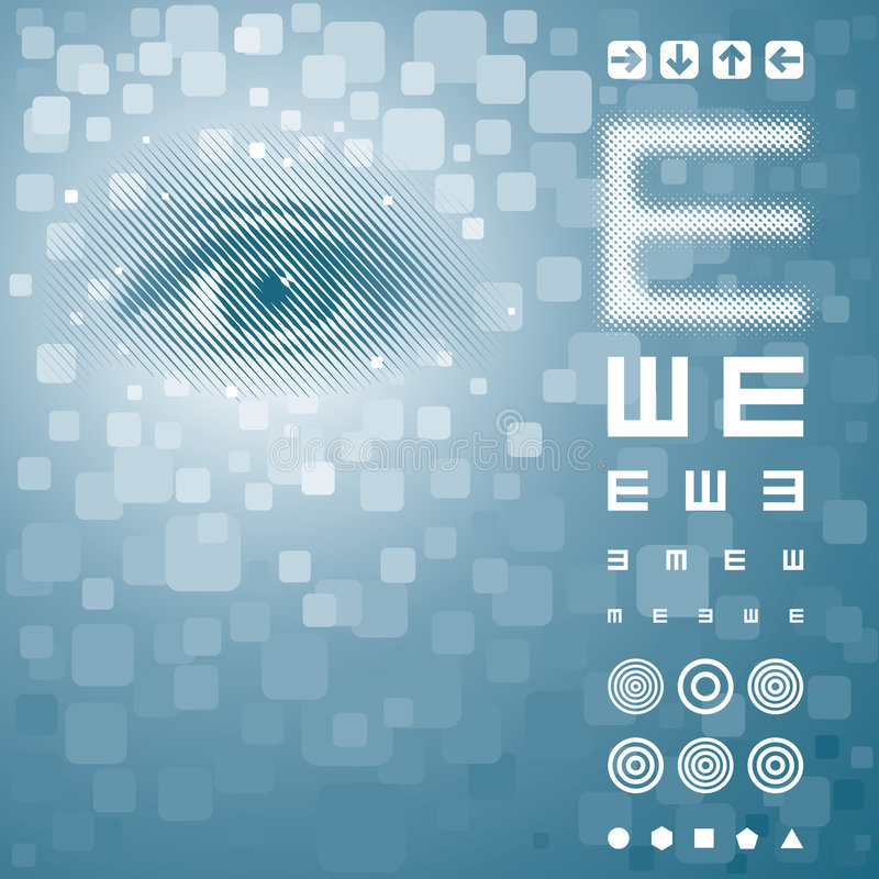 Vision Test. Eye background with vision test chart. Vector layered royalty free illustration