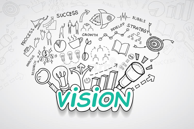 Vision text, With creative drawing charts and graphs business success strategy plan idea, Inspiration concept modern design templa stock illustration