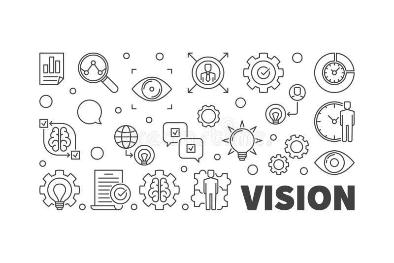Vision vector line illustration. Business Vision linear banner vector illustration