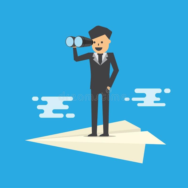 Vision von Geschäftsmannferngläsern auf Papierfläche lizenzfreie abbildung