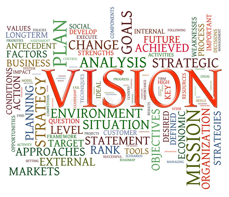 Vision word tags. Illustration of wordcloud representing words related to vision royalty free illustration