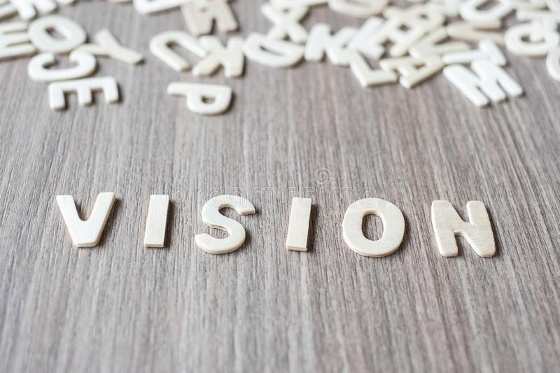 VISION word of wooden alphabet letters. Business and Idea. Concept stock image