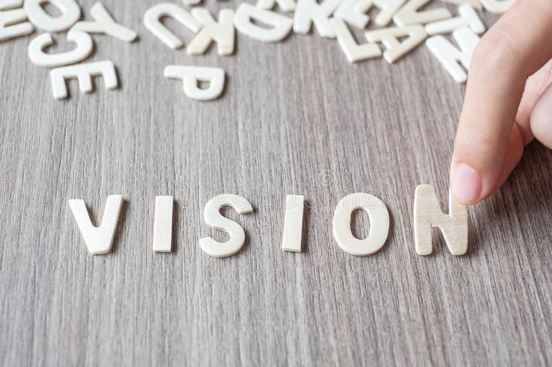 VISION word of wooden alphabet letters. Business and Idea. Concept royalty free stock images