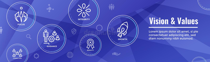 Vision y portada del web de los valores con la conexión, crecimiento, Foc stock de ilustración