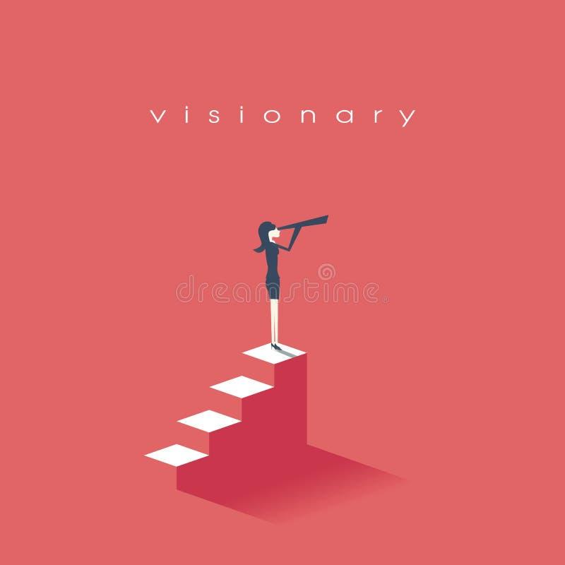 Visionbegrepp i affär med vektorsymbolen av affärskvinnan och teleskopet, monocular Symbolledarskap, strategi royaltyfri illustrationer