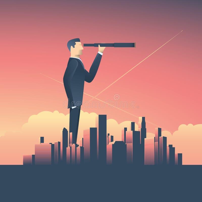 Visionbegrepp i affär med vektorsymbolen av affärsmannen och teleskopet, monocular, företags horisontcityscape vektor illustrationer