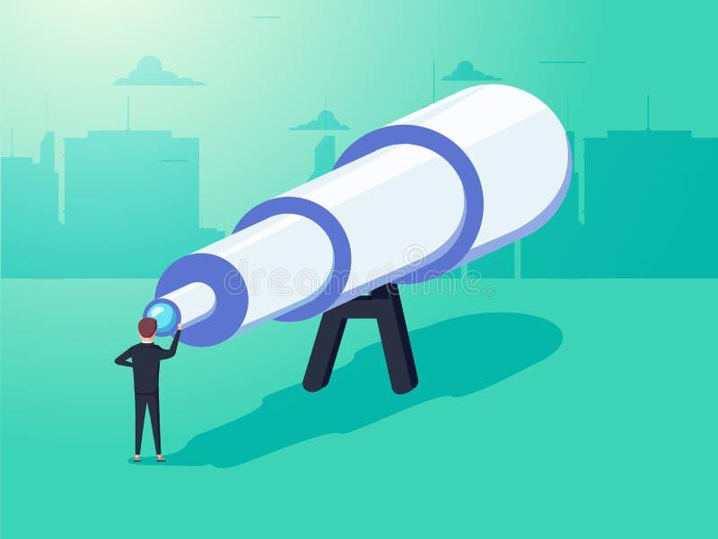Visionbegrepp i affär med vektorsymbolen av affärsmannen och teleskopet, monocular Se det stort föreställa vektor illustrationer