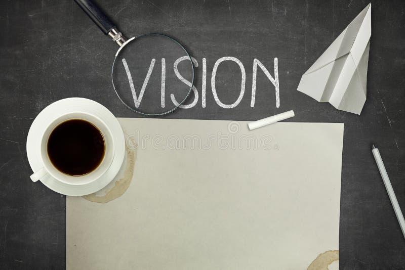 Visionbegrepp på svart tavla arkivbild