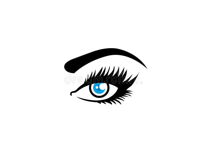 Visione dell'occhio della donna con i cigli ed il sopracciglio per progettazione di logo illustrazione vettoriale
