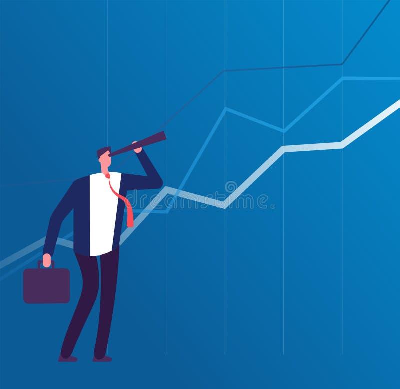 Visione di affari Uomo d'affari con il telescopio che guarda al successo futuro Concetto di vettore di piano di strategia e di di royalty illustrazione gratis